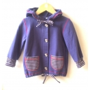 Eco cotton hooded jacket, jacket with buttons, purple