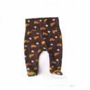 Organic cotton baby pants with footies (with yellow)