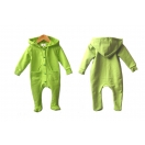 Eco cotton fleece kids overall with buttons, green