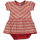 Baby zig zag dress coral stripes