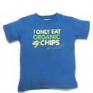 I ONLY EAT ORGANIC CHIPS, blue t-shirt