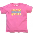 I ONLY EAT ORGANIC CHIPS, pink t- shirt