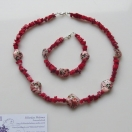 Red coral necklace and bracelet