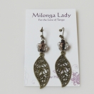 Filigree flower leaf earrings
