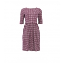 Elsie check dress, bordou