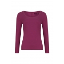 Organic Long Sleeve Scoop Top, burgundy