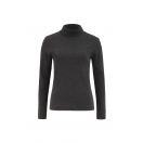 Organic Roll Neck Top, darkgrey melange