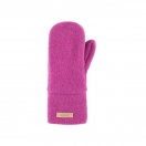Wool fleece mittens, fuxia