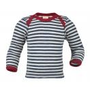 Upon order: Baby wool envelope-neck vest long sleeved, blue-natural