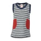 Upon order: Baby wool terry dress, lightgrey-navy blue