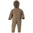 Upon order: Hooded baby wool fleece overall, walnut