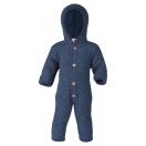 Upon order: Hooded baby wool fleece overall, blue