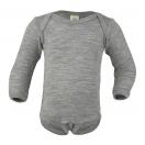 Upon order: Baby wool-silk envelope-neck body long sleeved, light grey