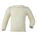 Upon order: Baby wool-silk envelope-neck vest long sleeved, natural