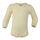 Upon order: Baby wool-silk envelope-neck body long sleeved, natural