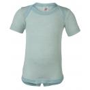 Upon order: Baby wool-silk envelope-neck body short sleeved, glacier-natural
