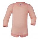 Upon order: Baby wool-silk envelope-neck body long sleeved, salmon-natural