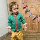 Green striped sherper reversible jacket
