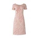 Twist kleit, korallroosa/valge
