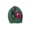 Jaquard flower hat. Green